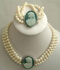3 row 7-8mm White Akoya Pearl Cameo Necklace Bracelet