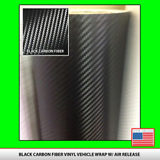 "3D Twill-Weave CARBON FIBER VINYL 12"" x 50"" Roll BLACK Wrap Sheet USA seller"
