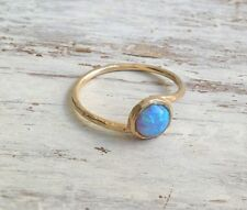 Gold Plated ring, gemstone ring, stacking ring, blue opal ring, hammered, t13