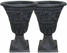 25 Tall Tumbled Black Garden Urn Planter Flower Plant Pot Outdoor Decor 2 Pack