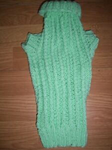 Brand new hand knitted ribbed mint Miniature Dachshund jumper/coat.Free Postage!