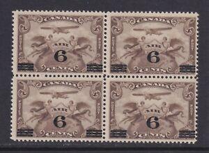Canada Scott C3 SG 313 F/VF MNH 1932 6¢ on 5¢ Allegory of Flight Airmail Block