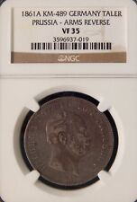 German States / Prussia 1861 A 1 Thaler Arms Reverse NGC VF35- Silver KM#489