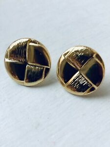 80's GOLD TONE Vintage Stamped Button Design Women's Earrings Unused Size 2 cms