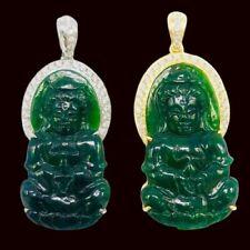 Fine China Jade Buddha Pendant Pair Kwan Yin Gold Diamond Necklace Jewelry Gift