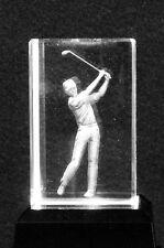 Golfer - Crystal Laser Art Block