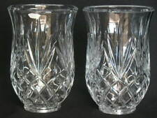 """Pair of Hurricane Lamp CUT Glass OR CRYSTAL Chimney Shades CANDLE HOLDERS 2 3/8"""""""