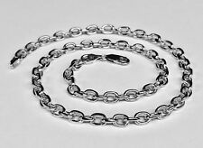 "14k Solid White Gold Handmade ROLO Cable Link Chain/Necklace 20""  38 grams 6 MM"