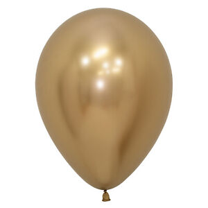 50 x Extra Shiny Gold Reflect Balloons Helium or Air fill Party Decorations