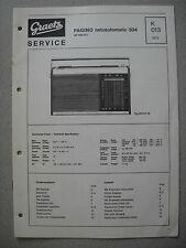 ITT/GRAETZ Pagino Netzautomatic 304 Service Manual