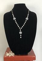 Vintage Necklace Black & White  Silver Tone Fun Kitsch Retro Costume Jewellery