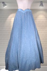 Vintage 1970s Ice Blue Disco Full Sweep Maxi Skirt - UK 8/10