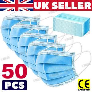 50 Face Mask Non Surgical Disposable Mouth Guard Cover Face Masks Respiration UK