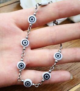 White Evil Eye Stainless Steel Chain Bracelet, Turkish Greek Nazar Boho Bohemian