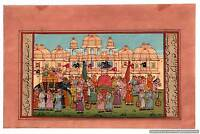 Mughal Procession Miniature Indian Painting Illustration Antique Hand Painted