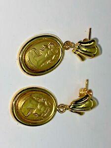 MILOR ITALY YG 18K Cameo Oval Drop Earrings