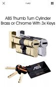 ABS thumb Turn Euro Cylinder Lock. High Security,Anti Snap / Bump / Pick, 50/50