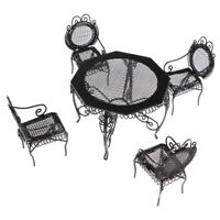 Dollhouse Room Balcony Lounge Furniture 1/12 Black Table with 4 Chairs Set