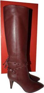 $1740 Valentino Garavani Rockstud Boots Burgundy Leather Tall Knee  Booties 39