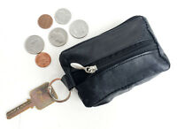Black Leather Men's Small Zip Coin Purse  Front Pocket Keychain Change Holder