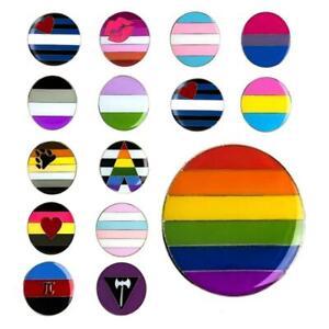 "LGBTQ PRIDE FLAG PIN 1"" Round Gay Lesbian Bisexual LGBT Lapel Hat Tie Tack Badge"
