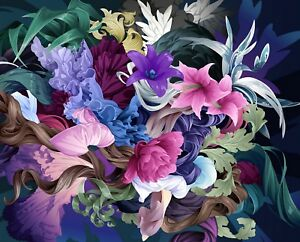 Multi Coloured Flowers - Colourful Modern Floral Wall Art Canvas Picture Prints