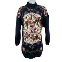 Jennifer Reed Vtg Sweater Long Sleeve Hand Knit Floral Mock Neck Size L