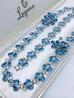 Vintage ORA Signed Blue Rhinestone Necklace Bracelet Earrings Parure Set