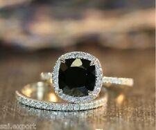 1.55ct cushion halo black aaa diamond engagement ring wedding band 14k gold over