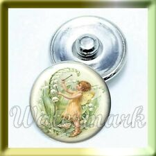 (CART 4 ,PAY FOR 2) VINTAGE SPRING Angel Lamb Flower Snap Button Charm - (16mm)