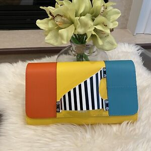 NWT Authentic PERRIN PARIS L'Eiffel leather clutch in Tricolor $1450