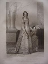 Grande gravure Portrait de CLARY Marie Julie Madame Bonaparte Reine de Naples