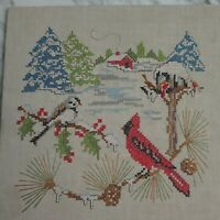 """Vintage Completed Cross Stitch Finished Red Cardinal Winter Cabin Pine 11"""" x 11"""""""