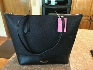 Kate Spade New York Lola Glitter Large Tote Handbag Black WKR00152 NWT MSRP $249