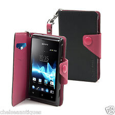 NEW Muvit Wallet Mobile Phone Case Sony Xperia E Black/Pink SEWAL0001 Wrist Band