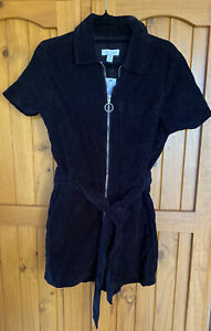 Topshop Ladies Black Cord Romper Size 6 Bnwt Rrp $94.95