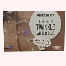 80 LED Lights Twinkle  White & Blue Indoor & Outdoor Use 6m LED's 8 Functions