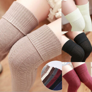 Retro  Women Ladies Knee-high Winter Warm Thigh Cotton Knitted Retro Soft Socks