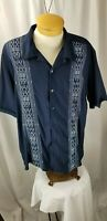 Mens ISLAND PASSPORT Hawaiian Camp Cuba Style Club Shirt EMBROIDERED BLU/WH XL