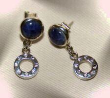 Silber 950  Ohrhänger Ohrringe Ohrschmuck mit Naturstein Sodalith und Rosequarz