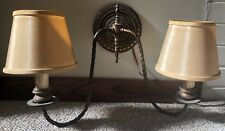 Vintage 2 Arm Ornate Brass Wall Hanging Sconce Light Lamp Lighting Cloth Shades
