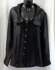George Simonton Ladies Blouse Size L NWT Black Rayon Blend Long Sleeves Buttons