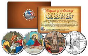 JESUS Nativity - Last Supper - Resurrection Colorized State Quarters 3-Coin Set