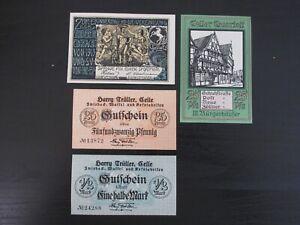 1918/19/22 Celle 25/50 Pfennig & 1/2 Mark Notes Lot of 4