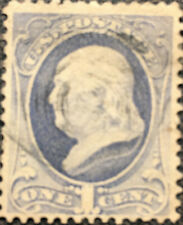 Scott #134 US 1870 1c Franklin Bank Note Stamp VF
