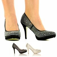 WOMENS LADIES GIRLS DIAMANTE HIGH HEELS BRIDAL PROM EVENING PARTY SHOES SIZE 3-8