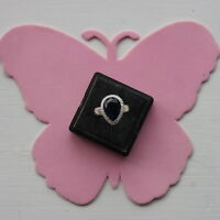 Nice Silver Ring With Faceted Sapphire 2.7 Grams Size R 12 In Gift Box