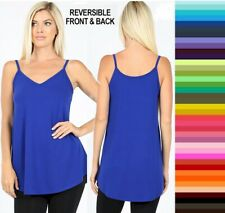 Womans Zenana Reversible Tank Top V & Scoop Neck Flowy Rayon Plus Size 1X 2X 3X