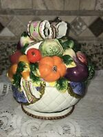 Gorgeous  Ceramic Canister With Lid - Hand Painted Colorful Fruit- Unknown Maker