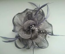 Beautiful  Grey feather & flower design facinator wedding/079